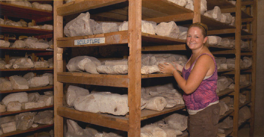Katie during sculpture storage collections work at the Athenian Agora Excavations, 2010