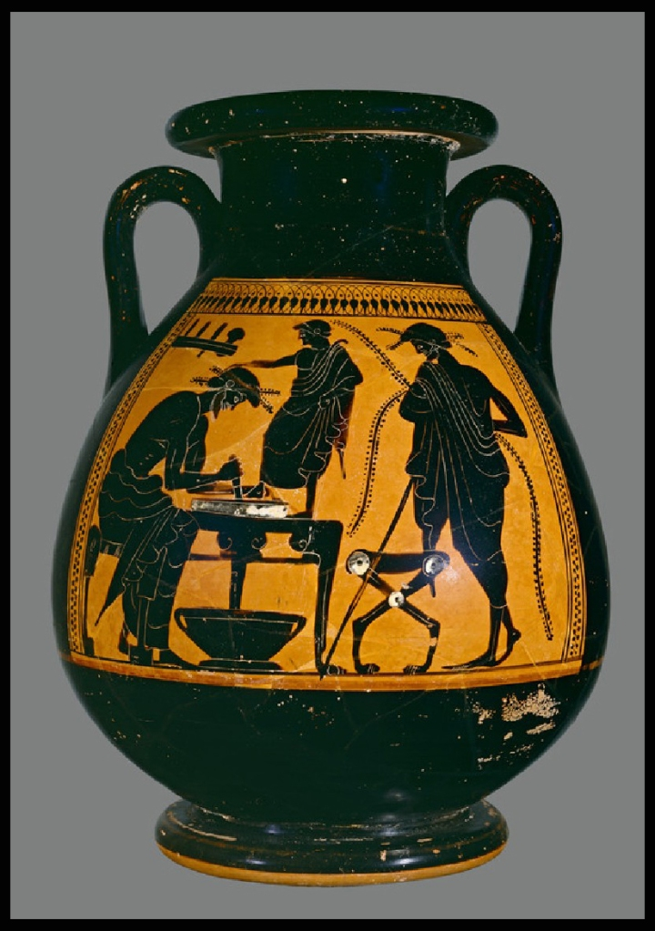 Greek pot showing shoemaker designing footwear from the Ashmolean Museum