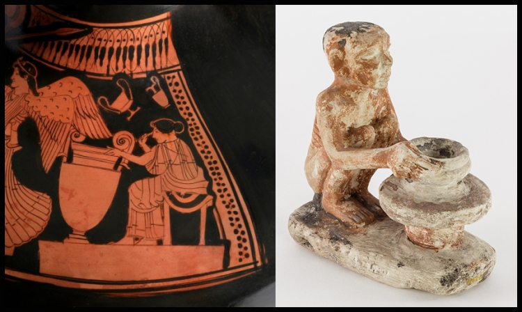 Greek pot showing the production and painting of pottery on the left. Model of an Old Kingdom Egyptian potter on the right