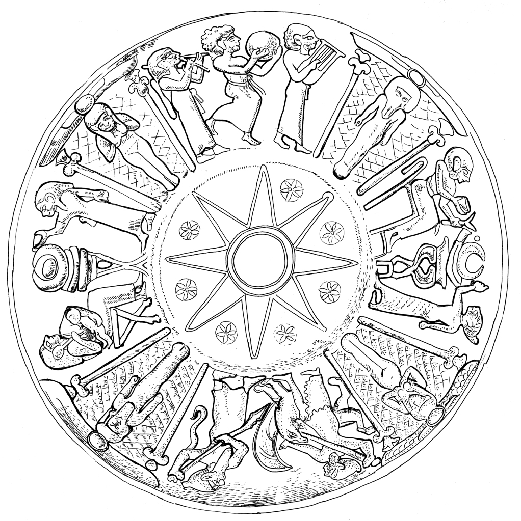 Drawing of a bronze bowl from Olympia showing female figures