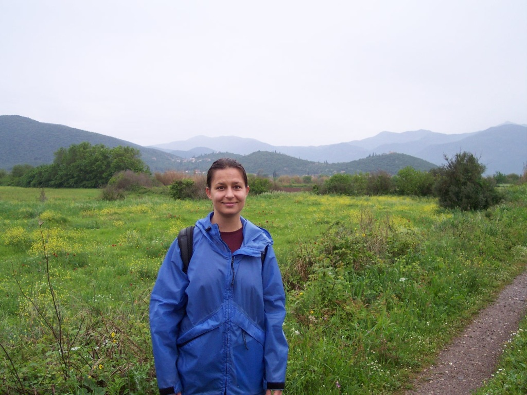 Dr. Laura Gawlinski walking the path to the ancient sanctuary