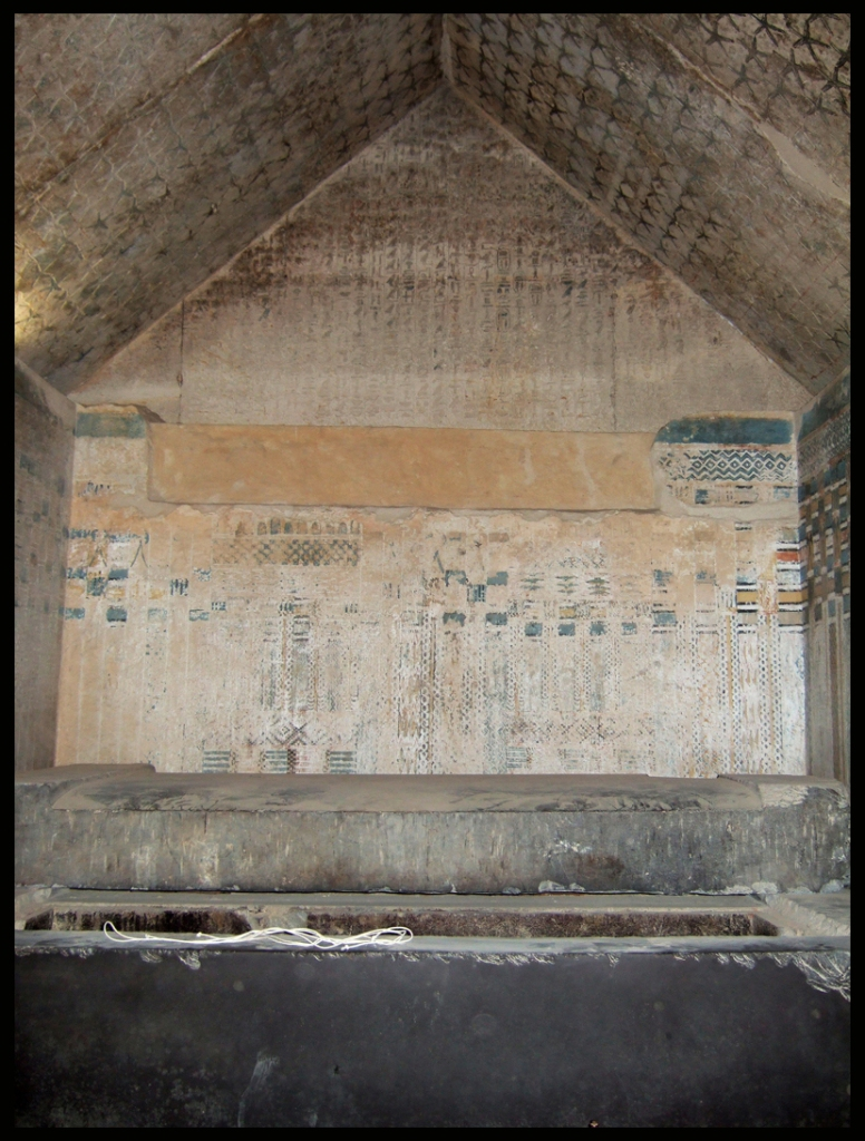Burial chamber of King Unis, Old Kingdom. Showing Pyramid Texts