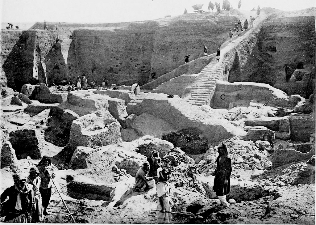 Photo of the excavations at the Royal Cemetery of Ur
