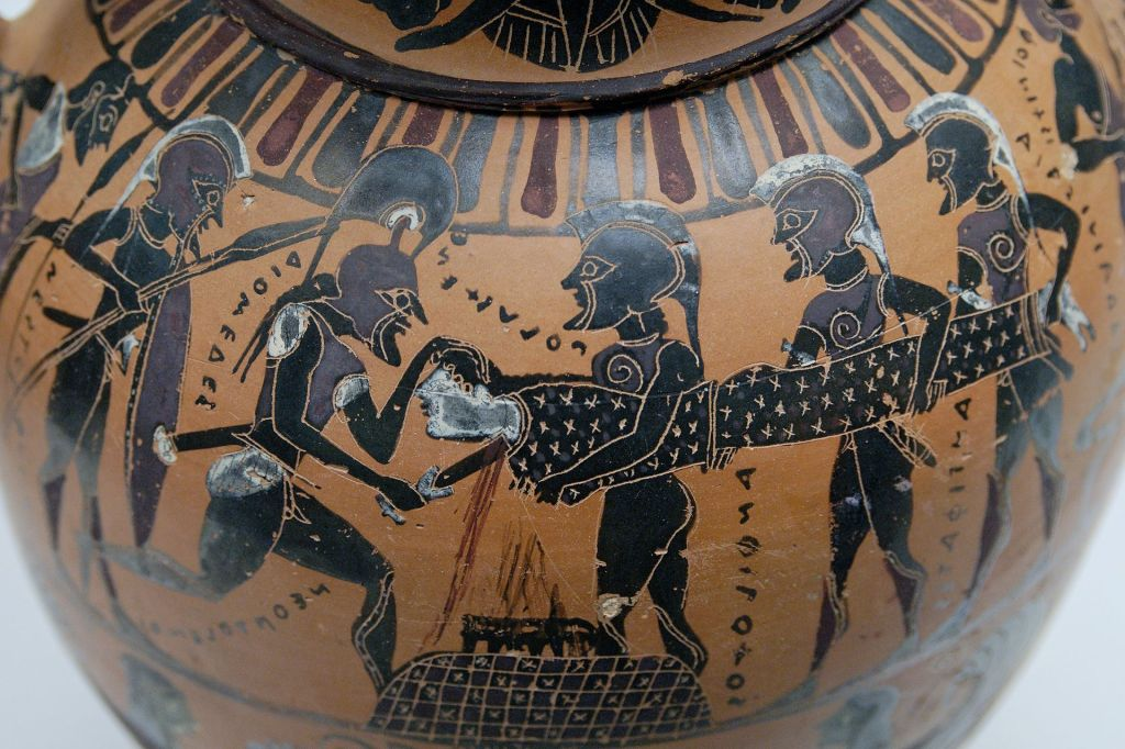 Pot showing the sacrifice of Polyxena, princess of Troy, by the triumphant Greeks