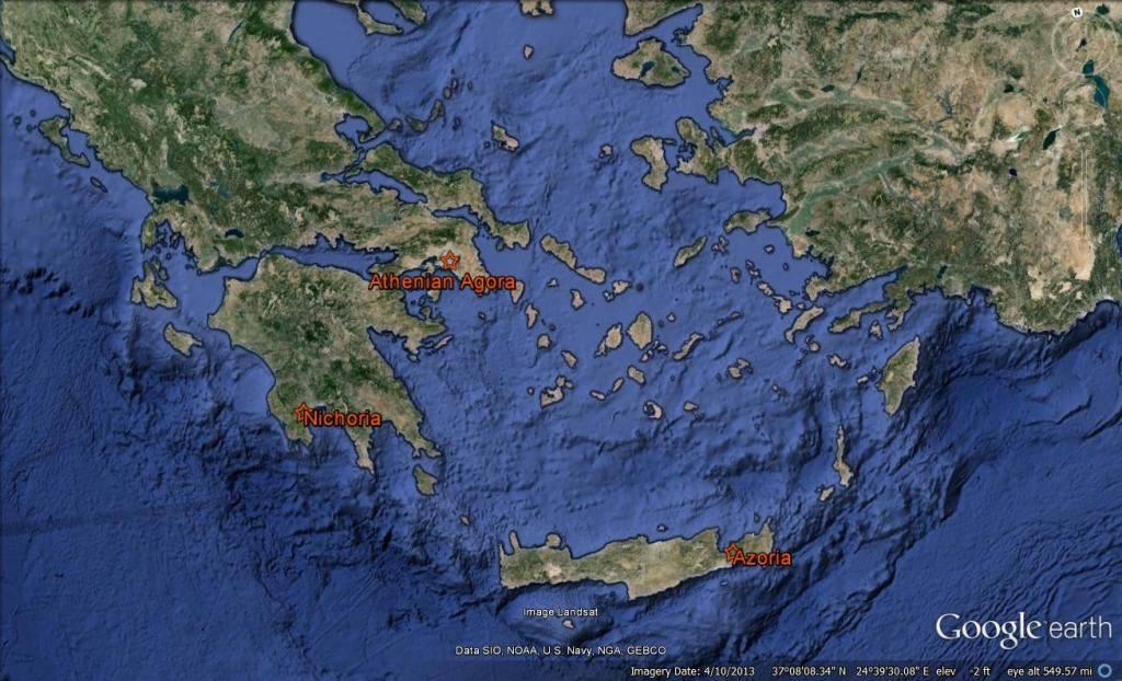 Locations of Nichoria and Azoria