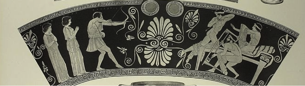 """Odysseus slaying Penelope's obnoxious suitors. Attic red-figure skyphos ca. 440 BCE. This is an example of a """"spree"""" or mass murder, not serial murder; Odysseus felt justified given the suitors' violation of xenia, but their families demanded blood vengeance. Athena had to intervene to prevent further massacre."""