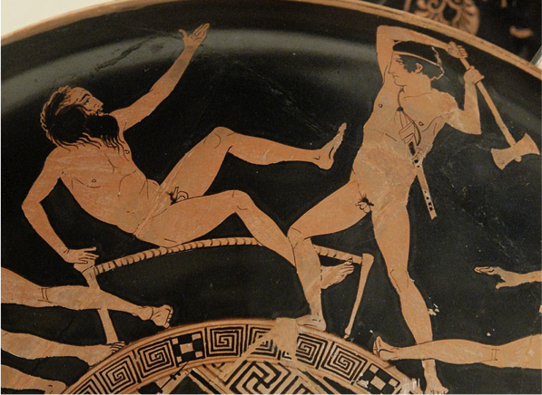 Fig. 3. Theseus killing Procrustes (note the bed). If Theseus hadn't undergone ritual purification, he himself might have been considered a serial murderer for killing at least 5 people on the road from Troezen to Athens. Attic red-figured kylix, ca. 440–430 BCE. https://commons.wikimedia.org/wiki/File:Theseus_Minotaur_BM_Vase_E84_n3.jpg