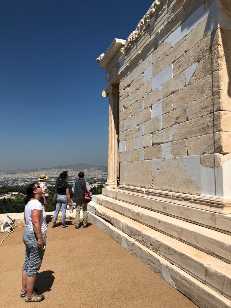 Rebecca Futo Kennedy at the temple of Athena Nike on the Acropolis