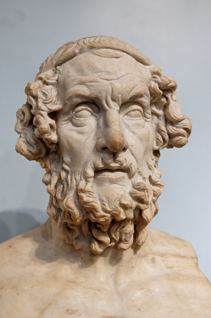 Portrait of Homer: No one knows what Homer looked like – tradition dates him centuries before the first portraits of individuals were created. Literary sources said he was blind, and some portraits show his eyes closed. All show him as an elder. Old age as a characteristic of poets and philosophers was virtually universal in the Hellenistic period when this fictional portrait was first carved. Portrait in the British Museum, London, 1805,7-3.85, Roman version of a Greek original of the 2nd-1st century B.C.