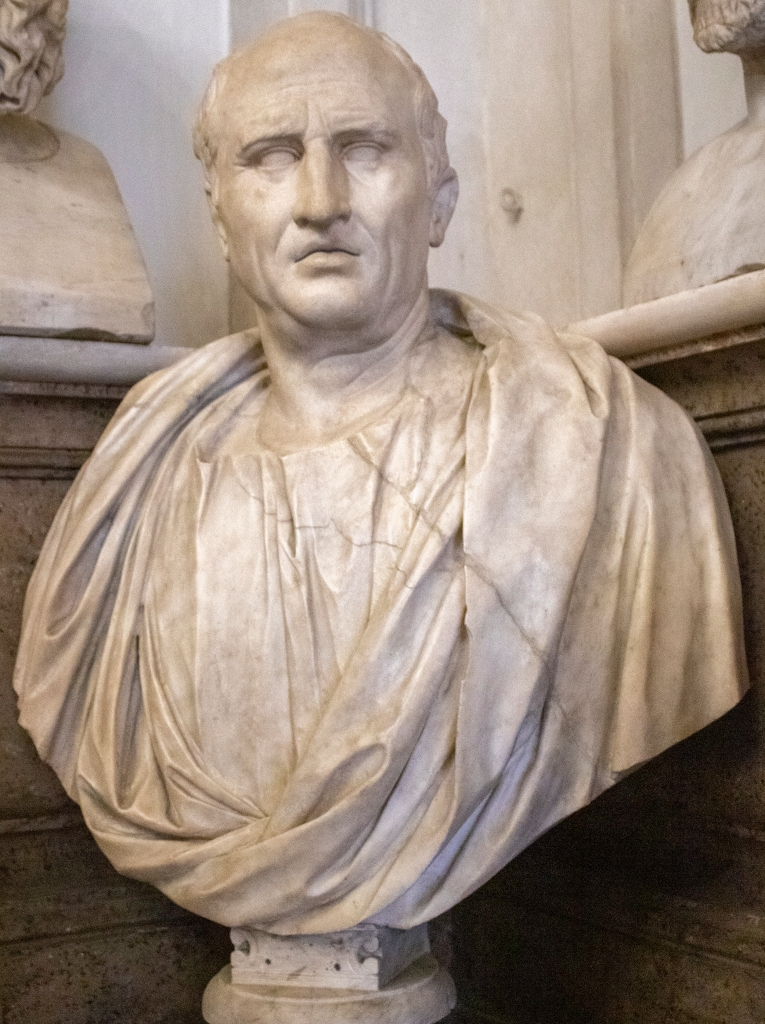 Portrait of Cicero: Cicero was renowned as a politician and orator in the late Roman Republic. He wrote a treatise on old age (De Senectute) that emphasized its positive aspects, especially stressing the life of the mind. It is still read by medical students and gerontologists today. Portrait in the Museo Capitolino, Rome, 1st century B.C.