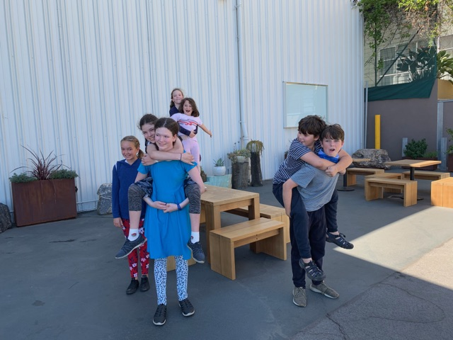 Dr. Stager's children and her collaborator Leila Easa's children outside of the Sara Vanderbeek show at Altman Siegel (Minnesota Street Project, SF)
