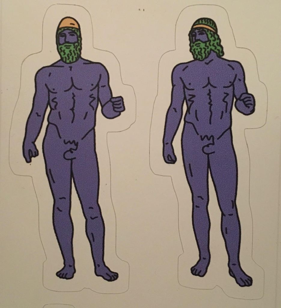 Polychrome stickers of the Riace Bronzes.