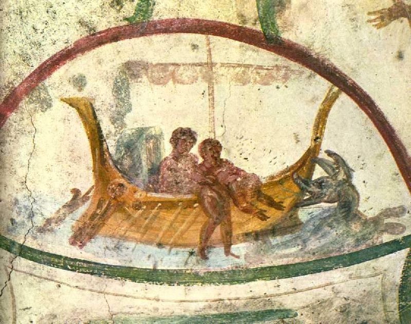 Figure 2. Jonah being lowered into the sea in the midst of the storm as a sacrifice to save those aboard the ship, Catacombs of Marcellinus and Peter.