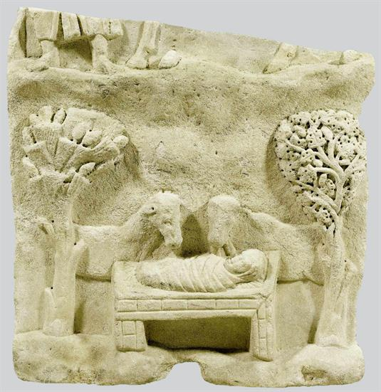 Figure 4. Marble relief with a representation of the Nativity, Naxos, late fourth or early fifth century. Byzantine and Christian Museum, Athens.