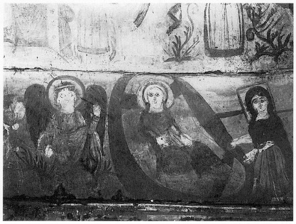 Nativity scene with an angel, Mary and Salome, Chapel 51, Monastery of Apa Apollo at Bawit, Egypt.
