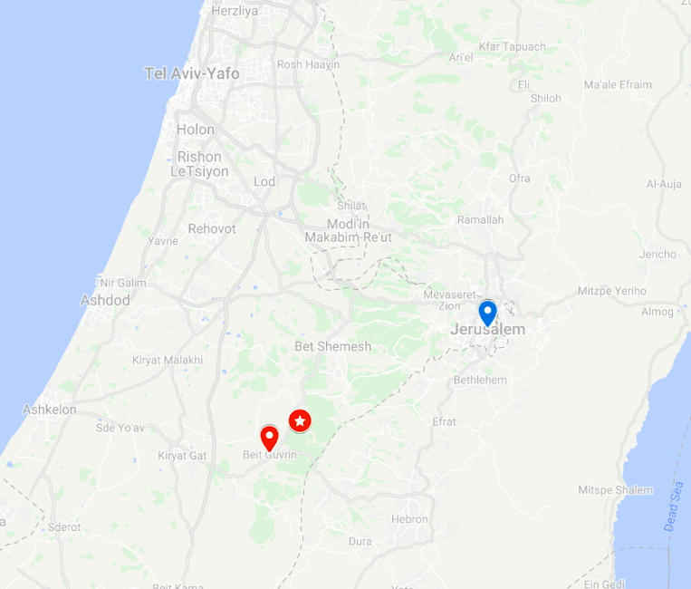 Map showing the location of Horvat Midras