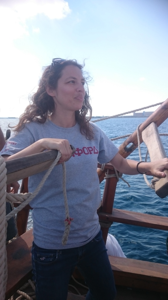 Dr. Anja Krieger manning the helm of the Kerynia Liberty in 2017.