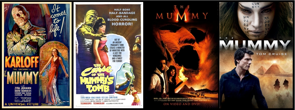 Movie posters for four films about mummies