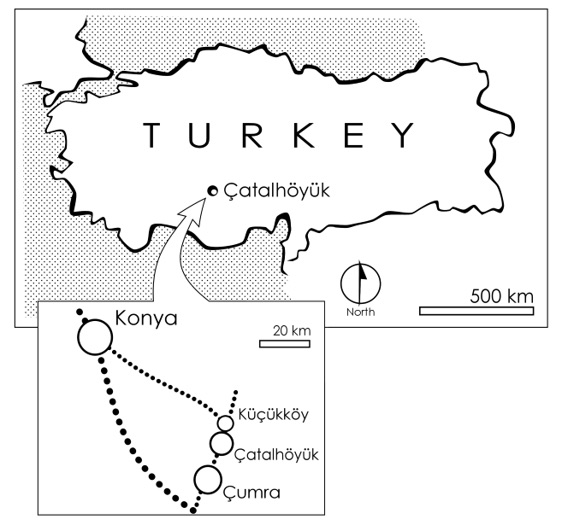 Map of modern Turkey showing the location of Çatalhöyük.