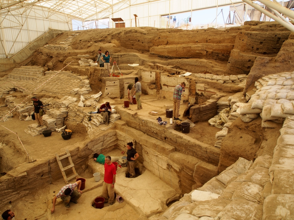 Photo of people excavating the south area of the site.
