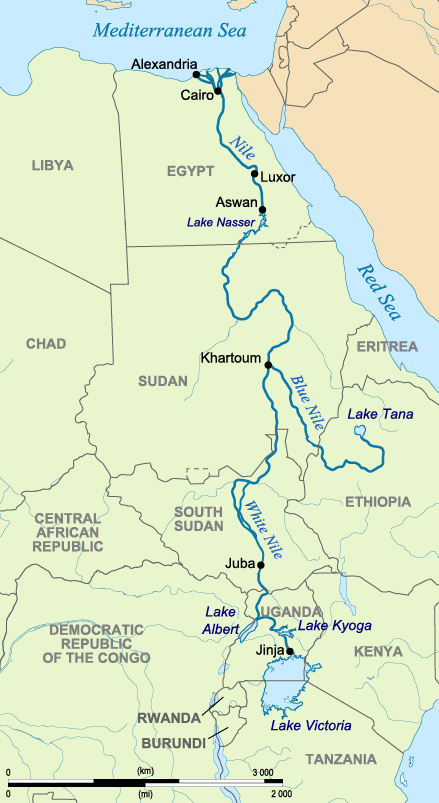 Map of the Nile and its Tributaries (Image Credit: Hel Hama, CC BY-SA 3.0. )