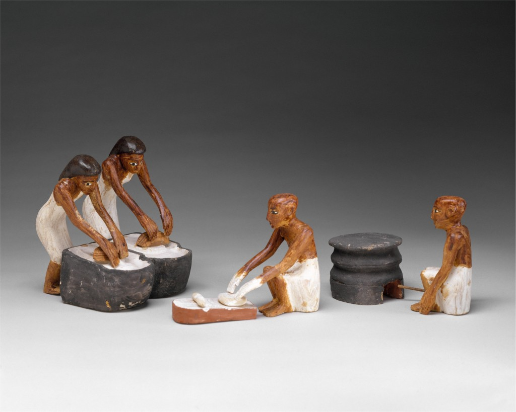 Later Middle Kingdom model of a brewers and bakers, Tomb of Meketre (Metropolitan Museum of Art inv. 20.3.12, CCO 1.0). These figures are part of the baking group.