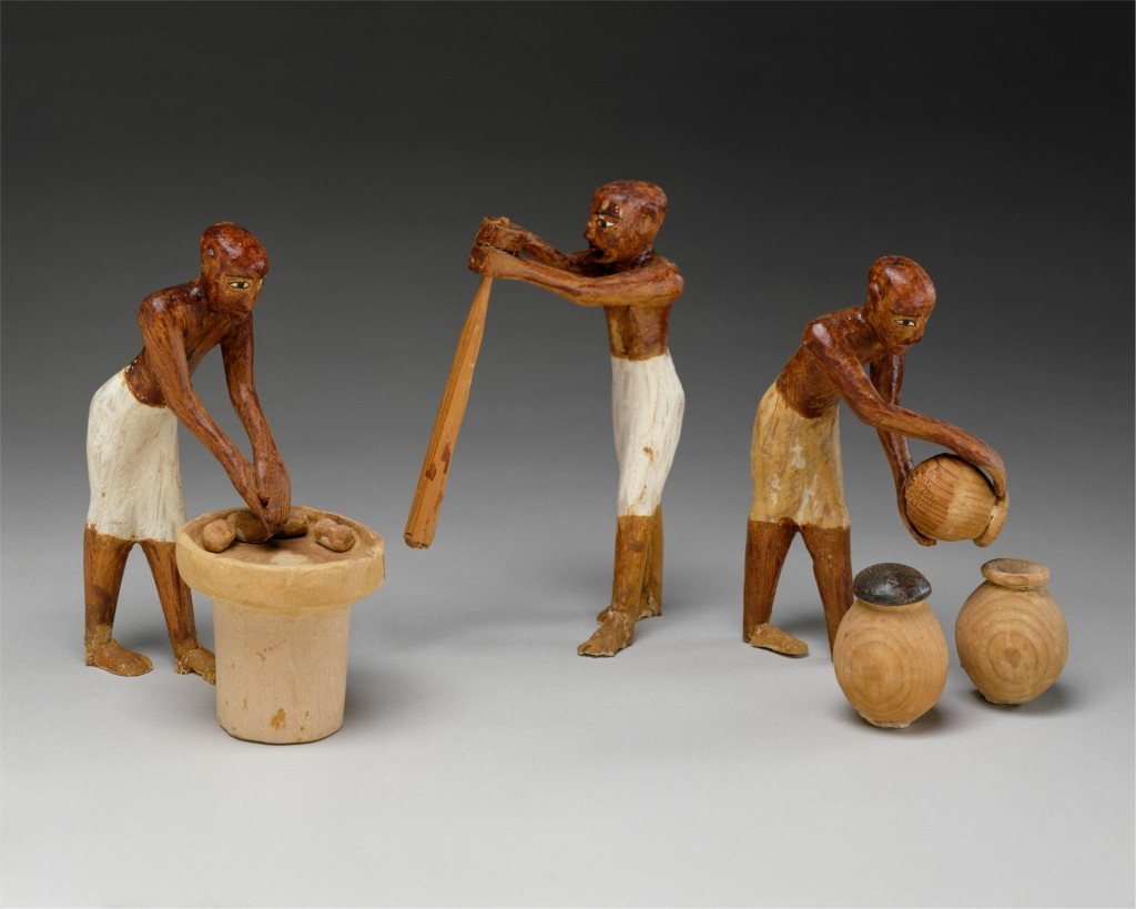 Later Middle Kingdom model of a brewers and bakers, Tomb of Meketre (Metropolitan Museum of Art inv. 20.3.12, CCO 1.0). These figures are part of the brewing group