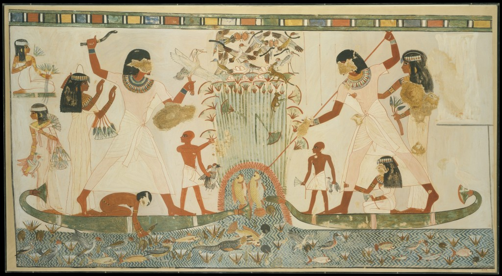 Image of fishing and fowling, Tomb of Menna (TT 69), north wall (Metropolitan Museum of Art 30.4.48, painting by Norman de Garis Davies, CCO 1.0).