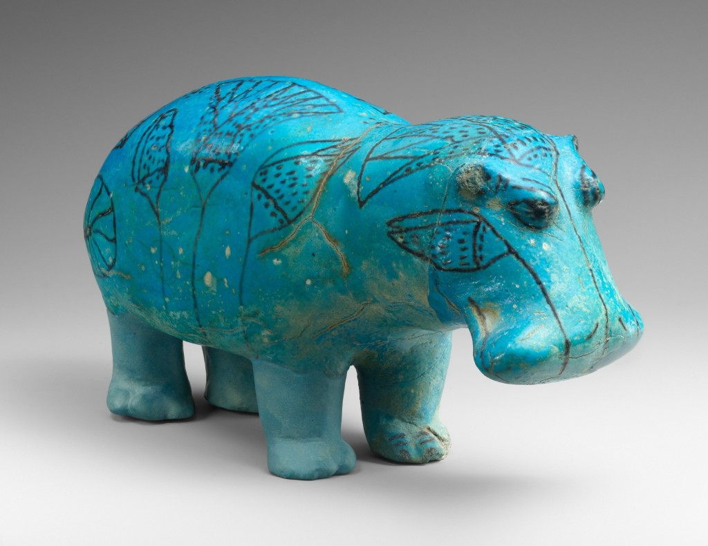 "Middle Kingdom faience figurine of a hippopotamus known as ""William"" the Hippo, The Metropolitan Museum of Art, New York, inv. 17.9.1."