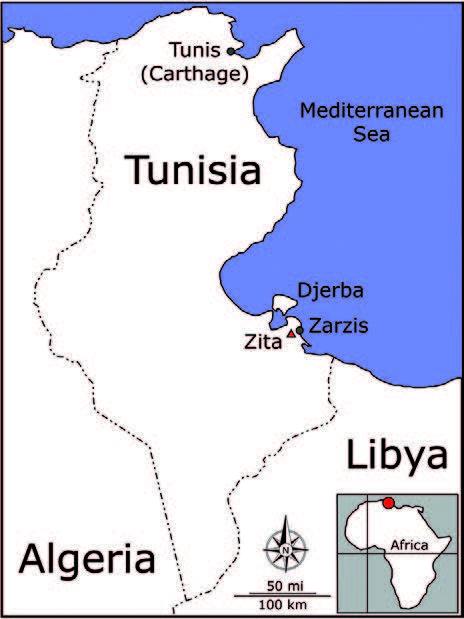 Map showing location of Zita near Zarzis, Tunisia