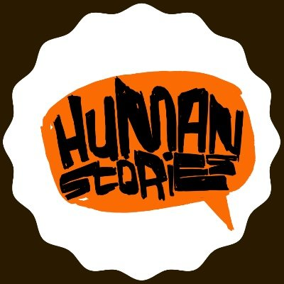Human Stories Logo. Colours include black, white and orange.