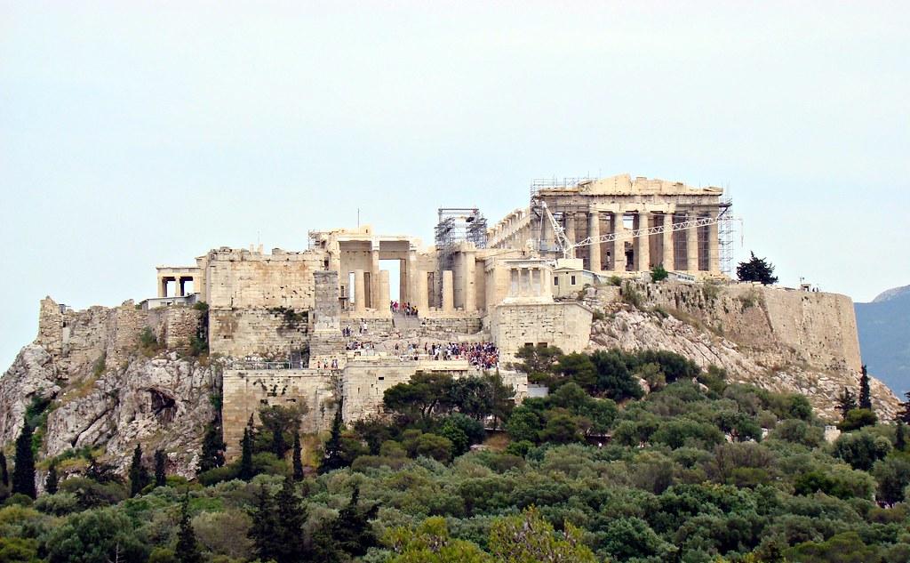 View of the Acropolis with the Parthenon, Propylaia and Erechtheion visible.
