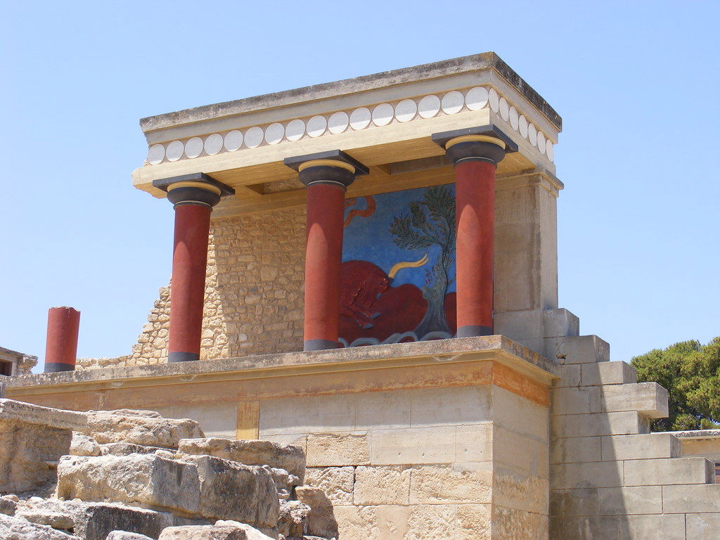 Image of the partially reconstructed remains of the archaeological site of Knossos, Crete.