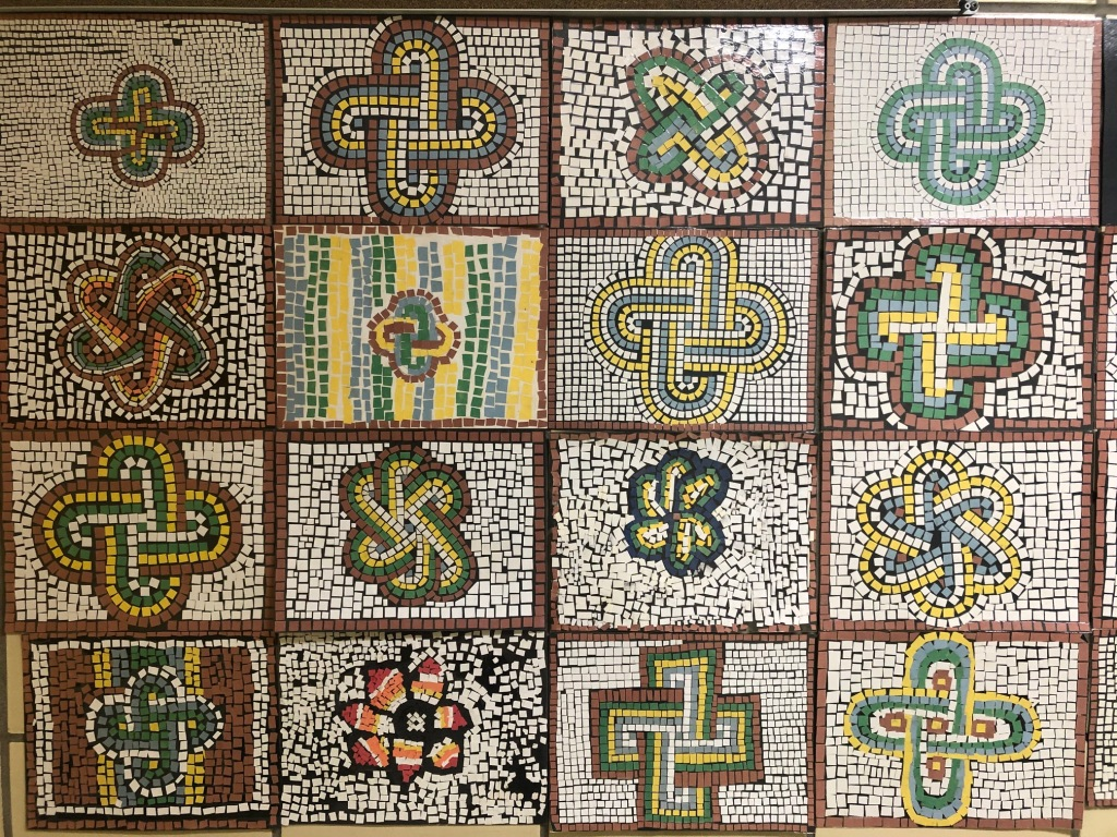 A collection of mosaics produced by the students.