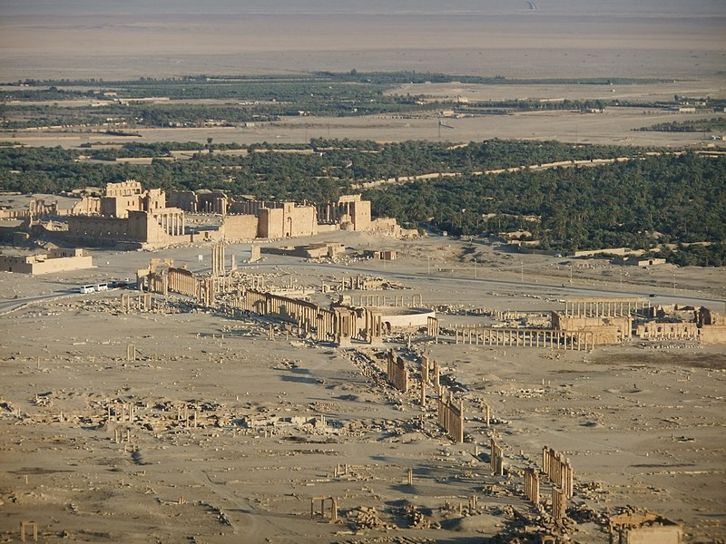 Aerial view of the archaeological site of Palmyra, including the including the Great Colonnade.