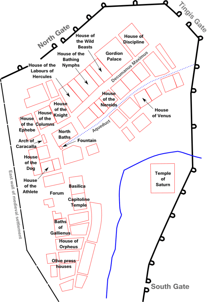 Plan of Volubilis which , indicating some of the most notable buildings, including the House of Orpheus, the Capitoline Temple and the Forum.