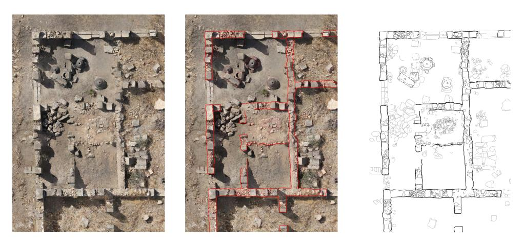 Aerial photo and drawing of a bakery in  the Maison au Buste de Bronze at Volubilis.