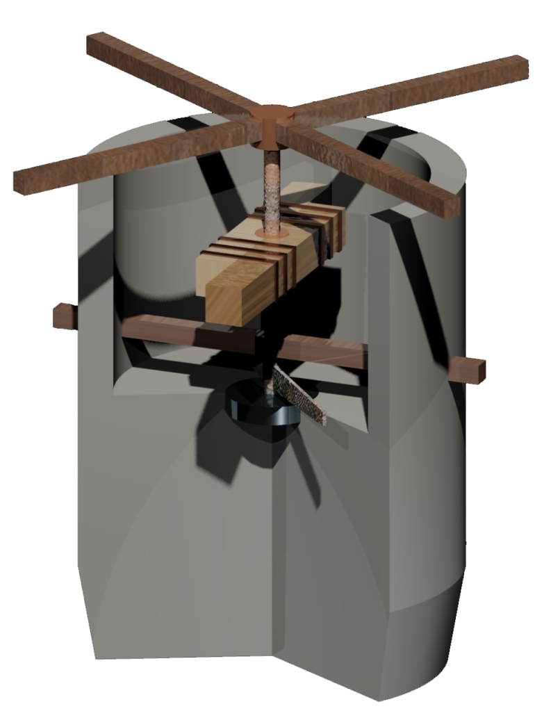 3D reconstruction of an ancient Roman dough mixer, which takes the form of a cylindrical vat, turned by four bars at the top in the shape of an 'X'.