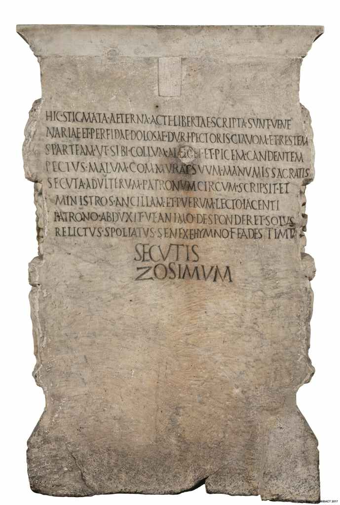 The back of the altar of Junia Procula which contains a curse enacted by Euphrosinus on his cheating wife.
