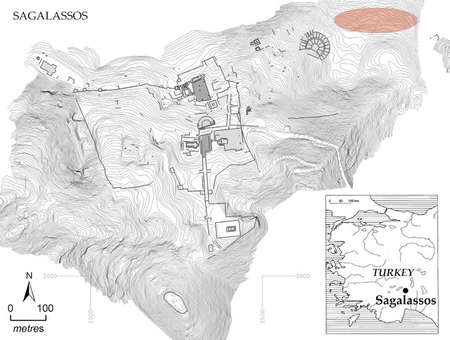 Topographic map of the city plan of Sagalassos, Turkey, which highlights several key buildings within the city. The pottery workshops are signified by a red bubble in the north east part of the map, outside of the city walls.
