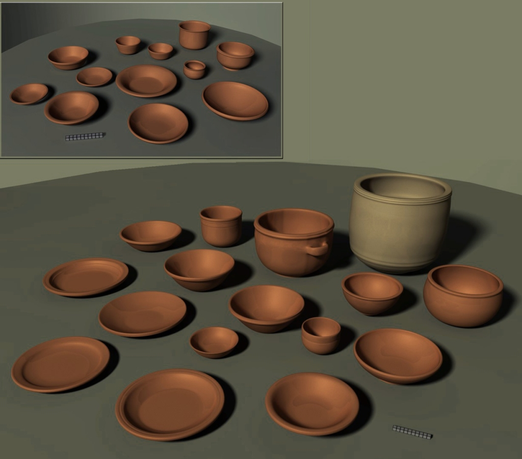 3D reconstruction of an assemblage of vessels made in the workshops of Sagalassos, including plates, bowls, cups, and serving vessels.