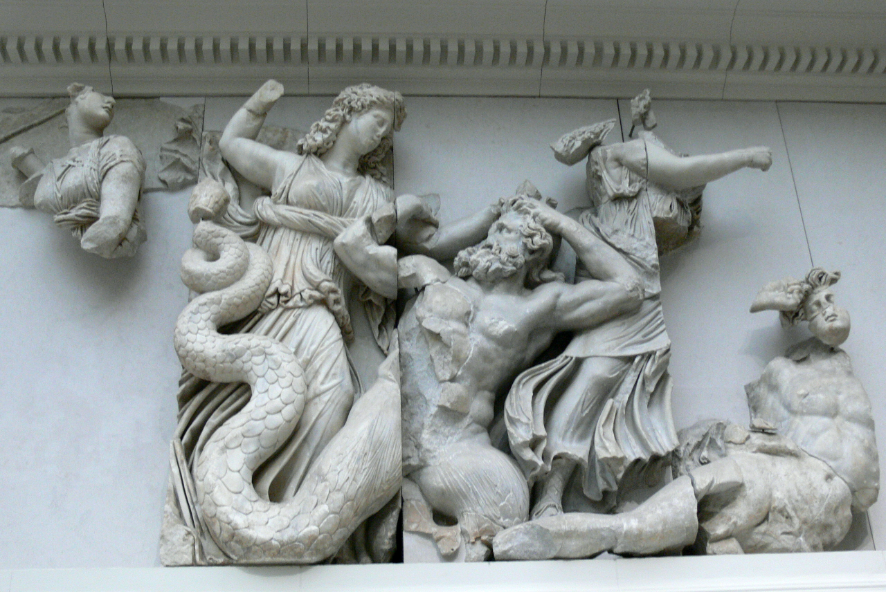 Sculptural frieze of the battle between the gods and the giants. Here, a goddess is striking down a snaked-legged giant.