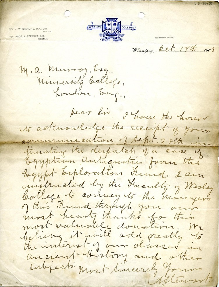 Photograph of a letter from the Wesley College Registrar that was found in their archives.