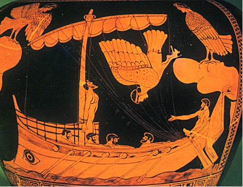 Close-up image of a Greek painted pot called a stamnos. The image shows a black background with figures in the colour of reddish-orange clay. There is a bot with a mast and the sails rolled up. Four rowers sit in the boat facing to the right. Another man sits at the helm facing left with his right arm stretched out. There is a man tied to the mast looking up. To the right of the boat is a high cliff jutting out with a bird-woman, with a woman's head and lower body of a bird (a harpy), standing on top. Another harpy is diving off the cliff. To the left is another cliff with a third harpy standing on top of it with wings outstretched. The boat has an eye pained on the stern.